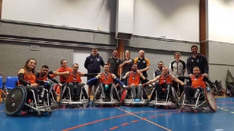 L'équipe des Sharks de Montpellier rugby fauteuil